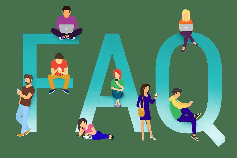 Illustration graphique de personnes devant des lettres de FAQ