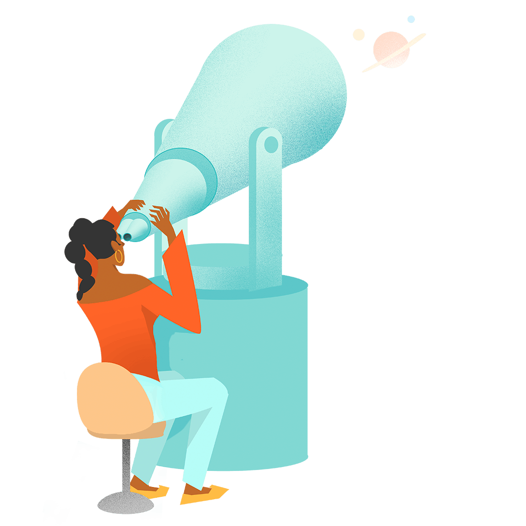 Graphic illustration of woman with telescope