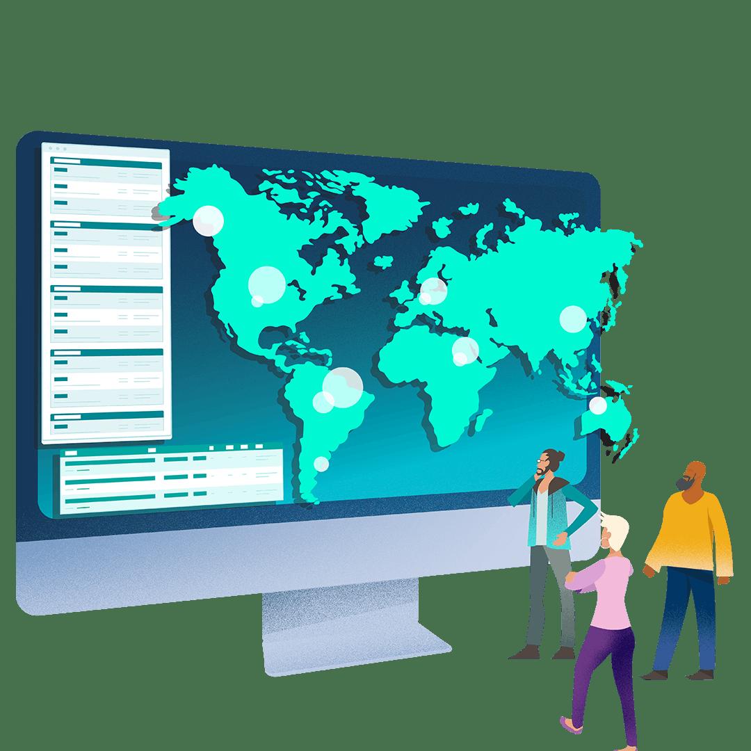 Kuva isosta tietokoneen näytöstä sisältäen maailmankartan, jota ihmiset katselevat.