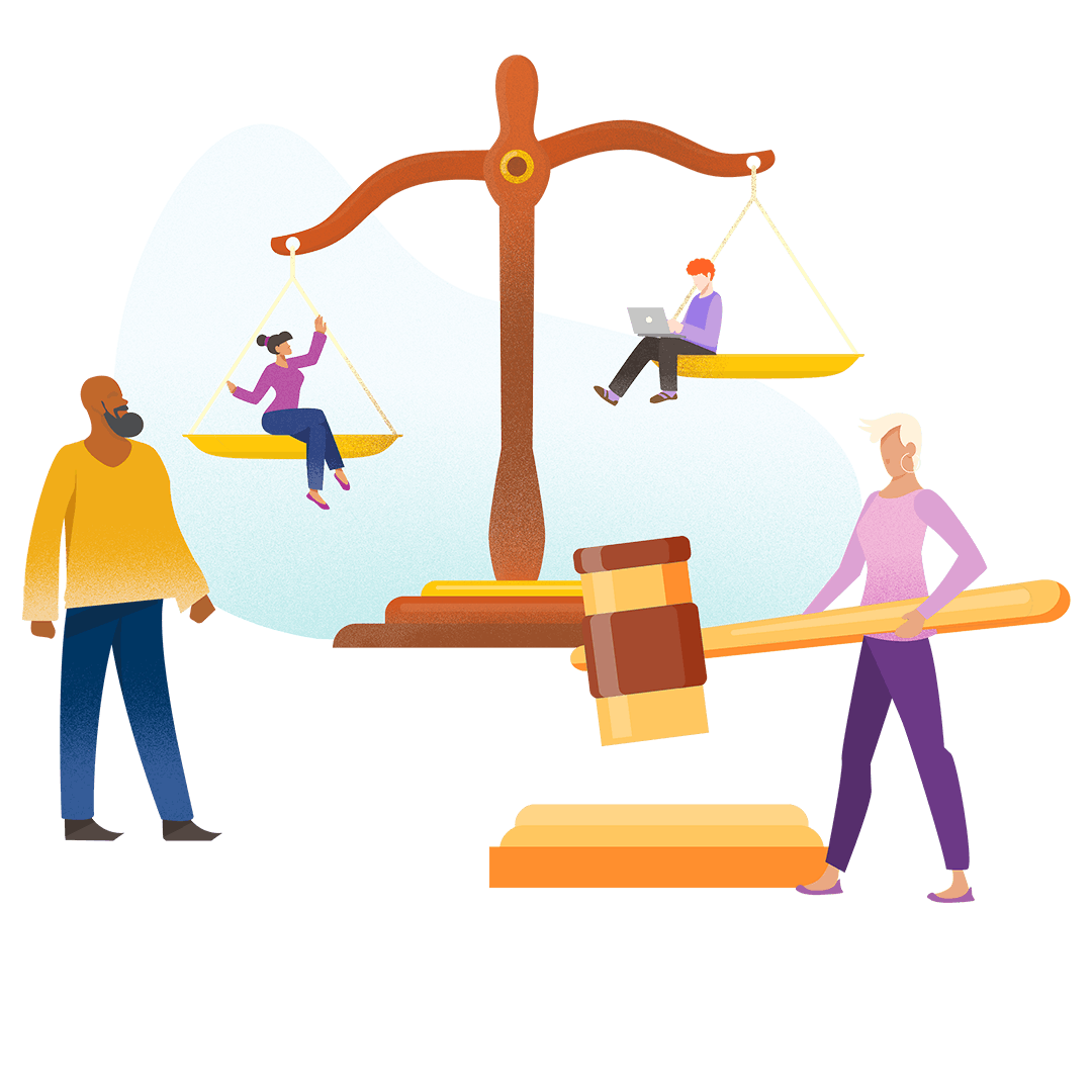 Graphic illustration of people in front of legal symbols