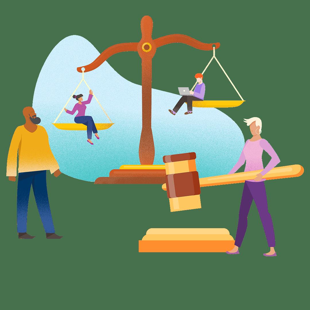 Illustration graphique de personnes devant des symboles juridiques