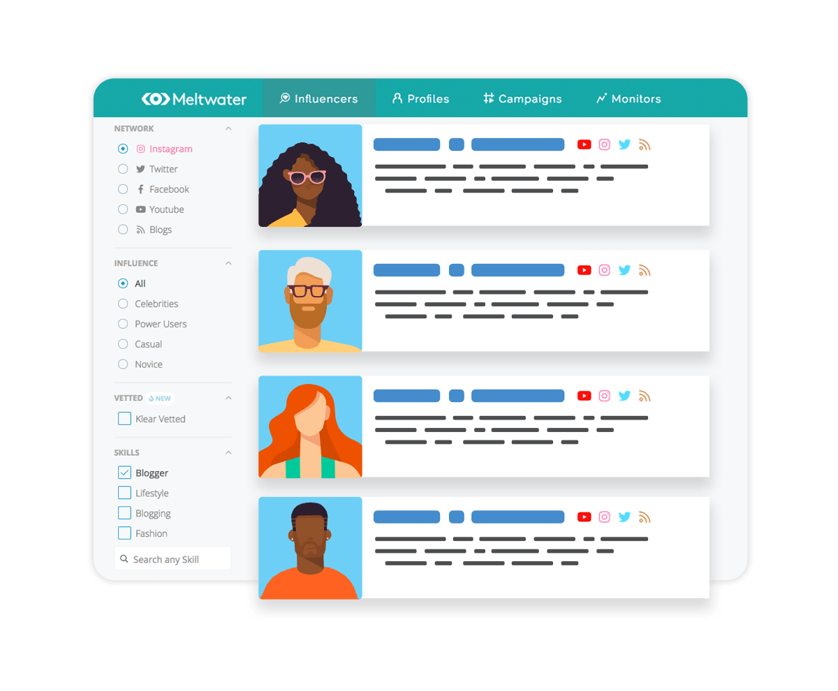 Illustration of Meltwaters Influencer Discovery Tool