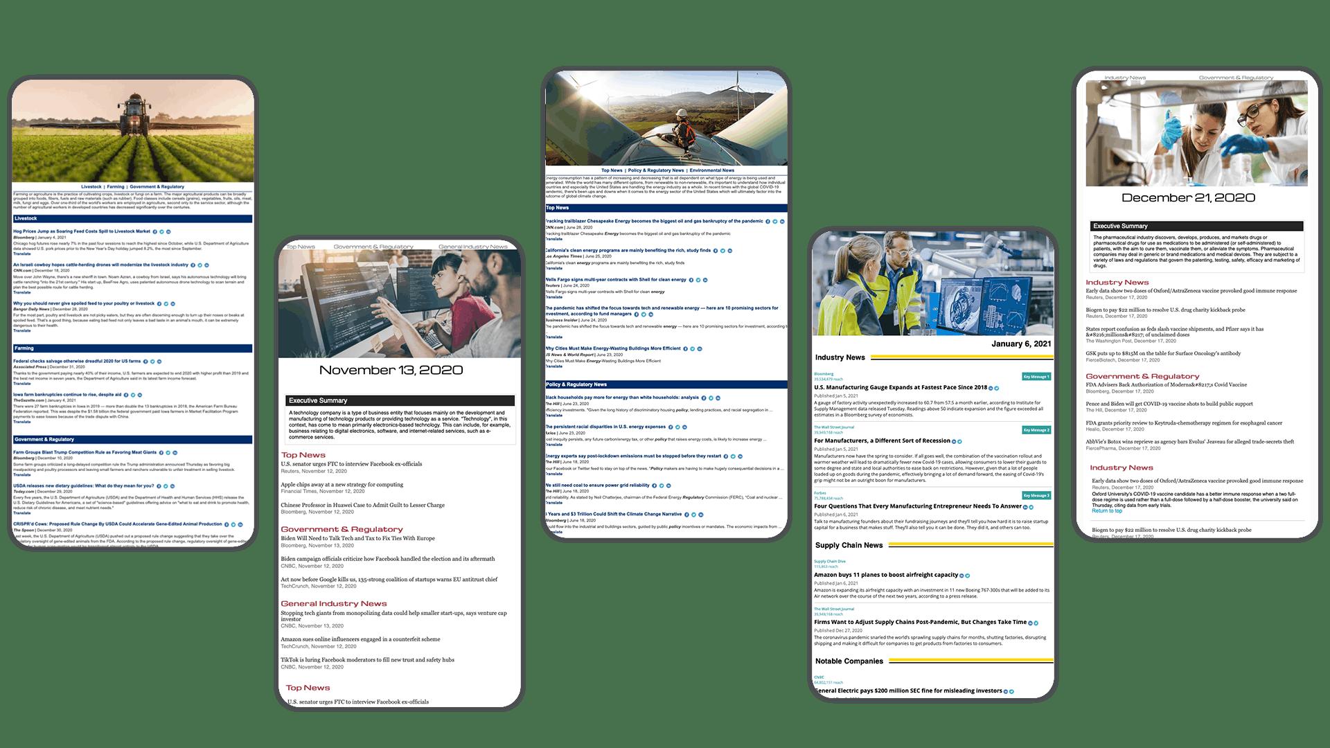 Image de quatre exemples de fil d'actualité de Meltwater