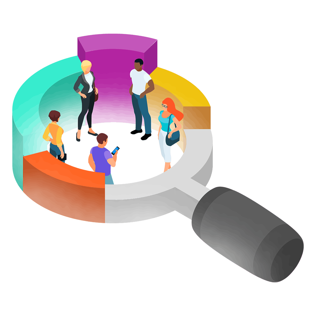 Graphic illustration of people in an oversize magnifying glass