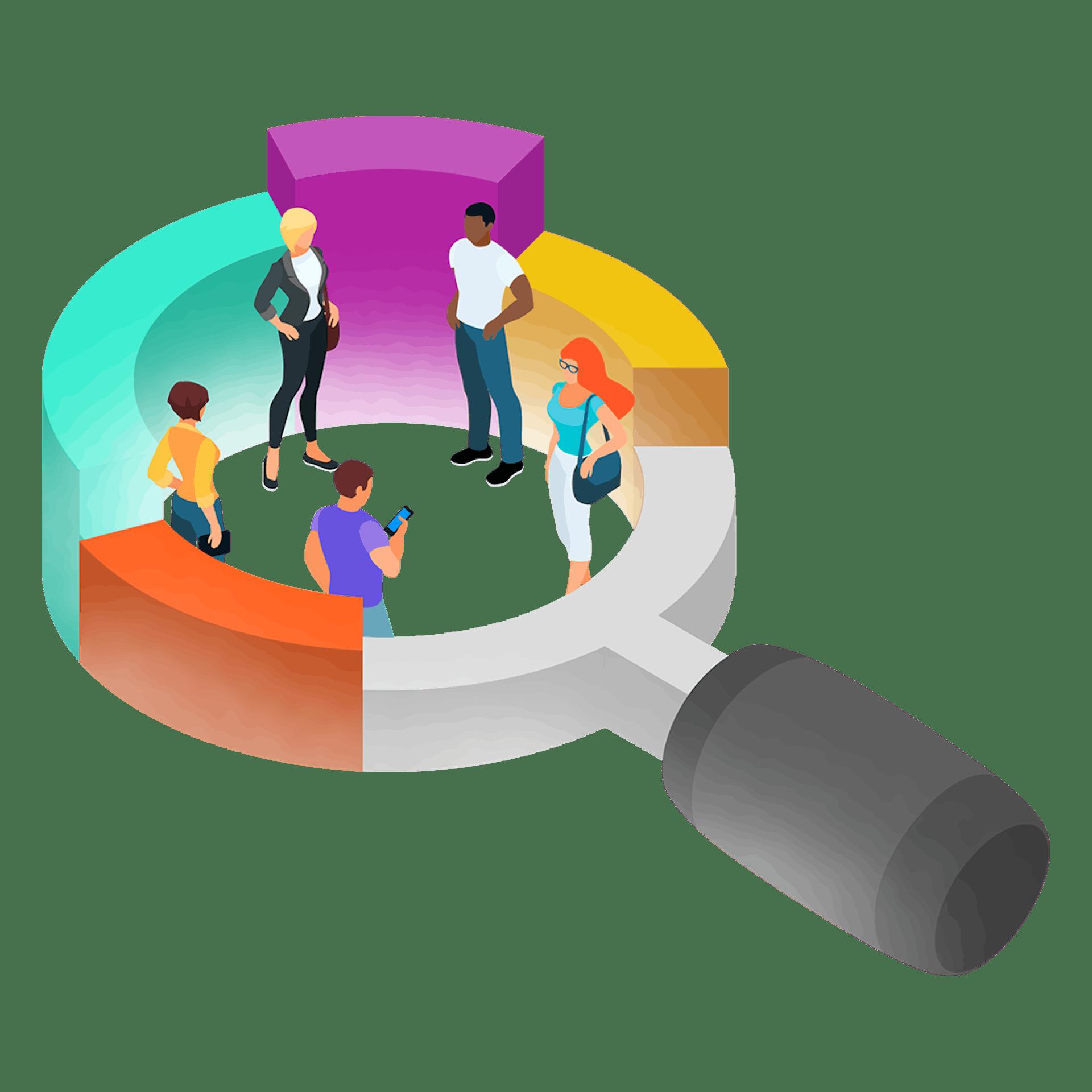 Illustration graphique de personnes dans une loupe surdimensionnée
