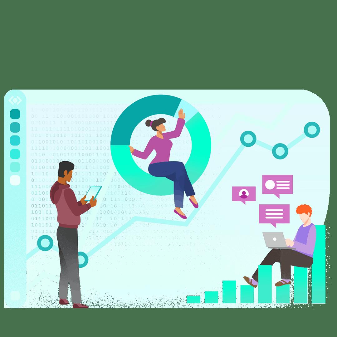 Illustration graphique de personnes construisant des tableaux de bord interactifs
