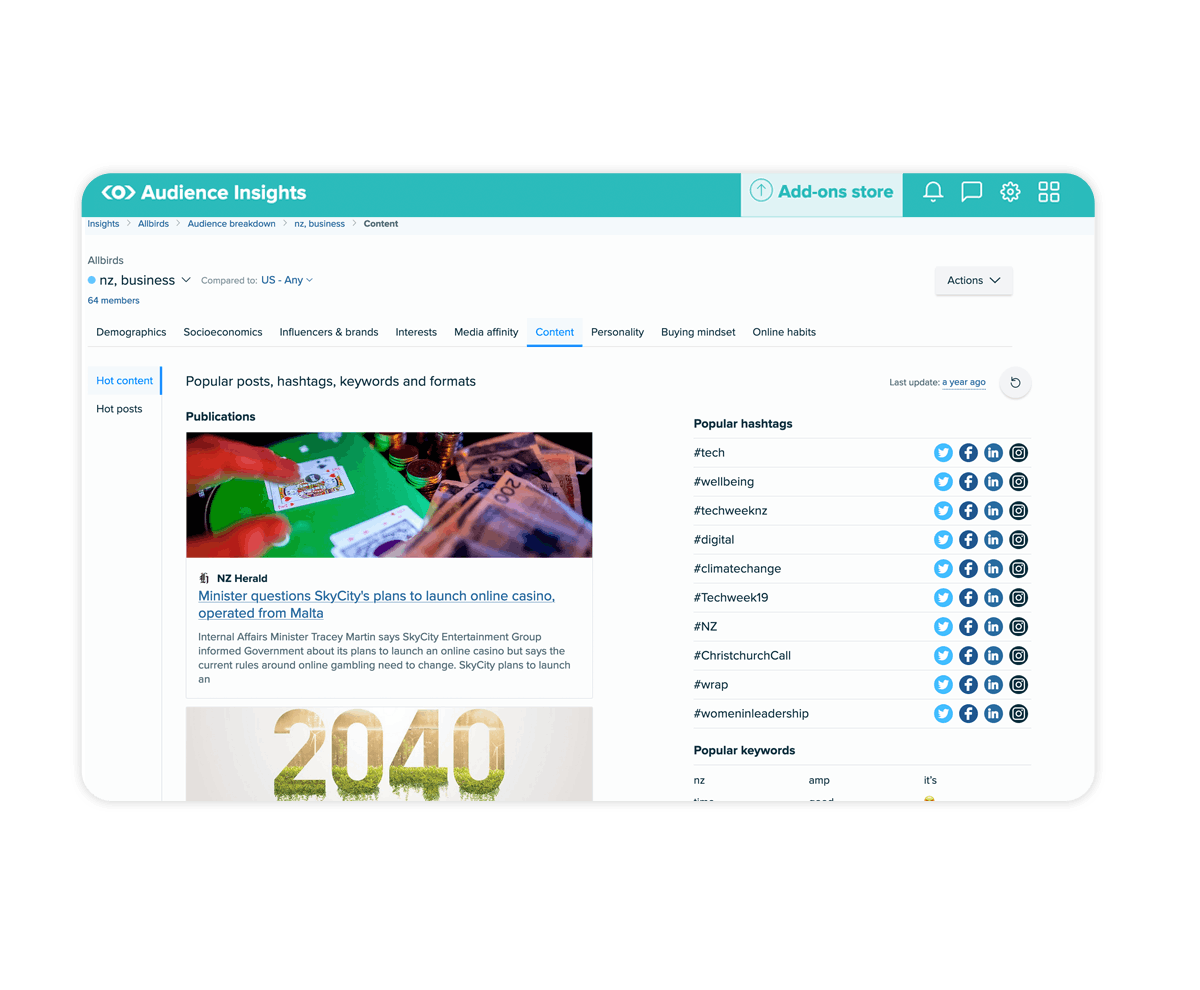Product screenshot of Meltwater Consumer Insights platform