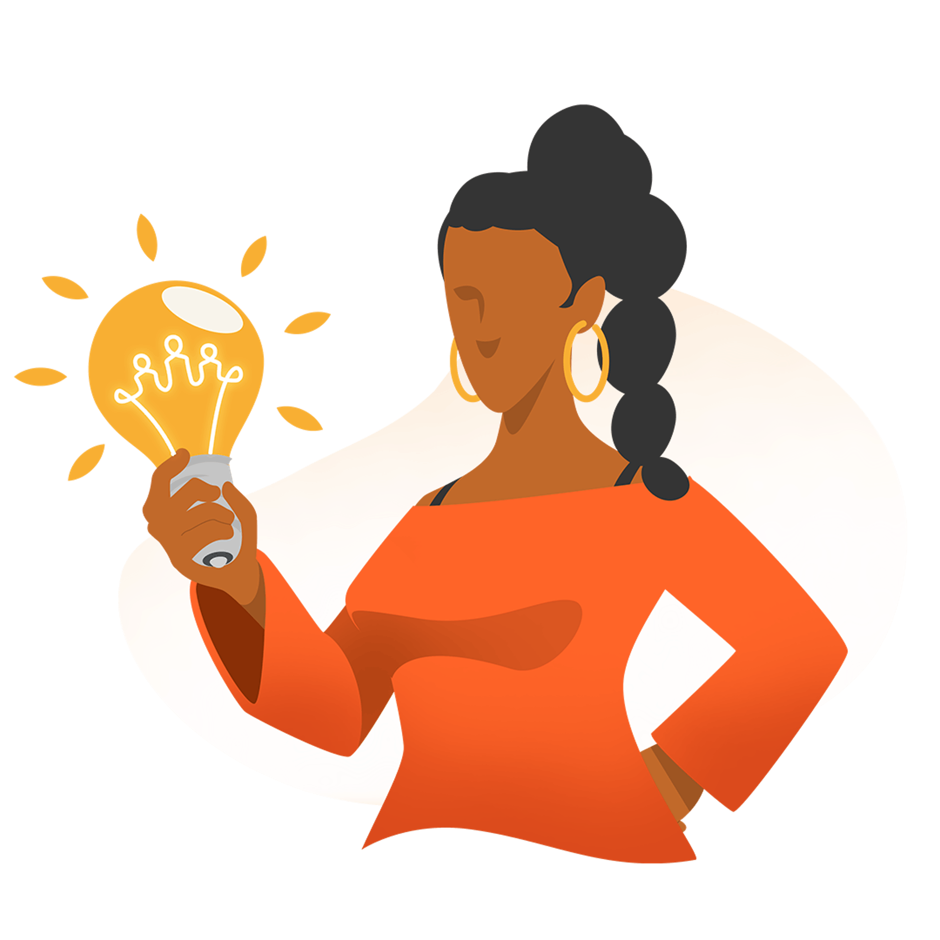Graphic illustration of woman with lightbulb