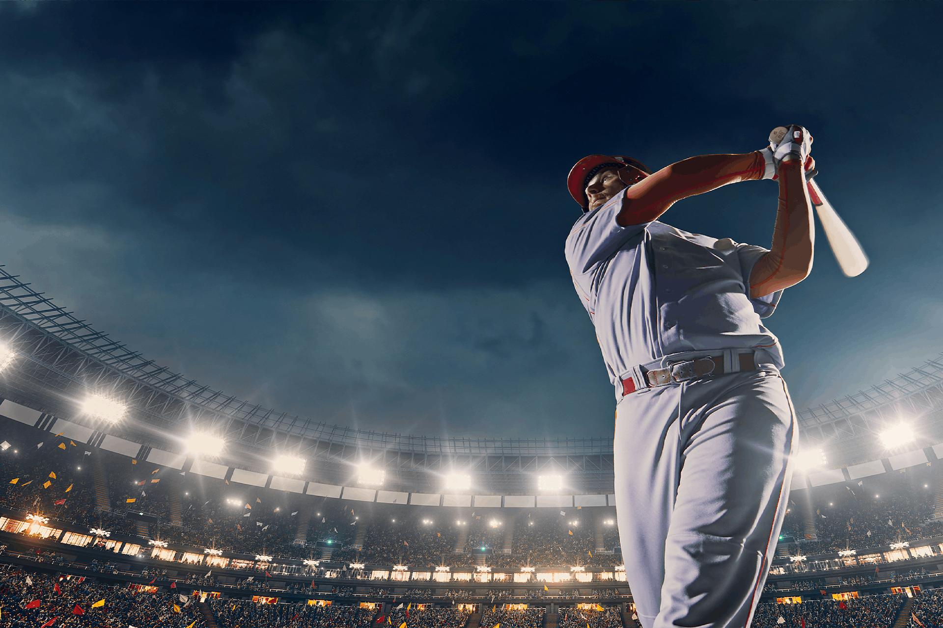 Foto Baseballspieler auf dem Feld im Stadium