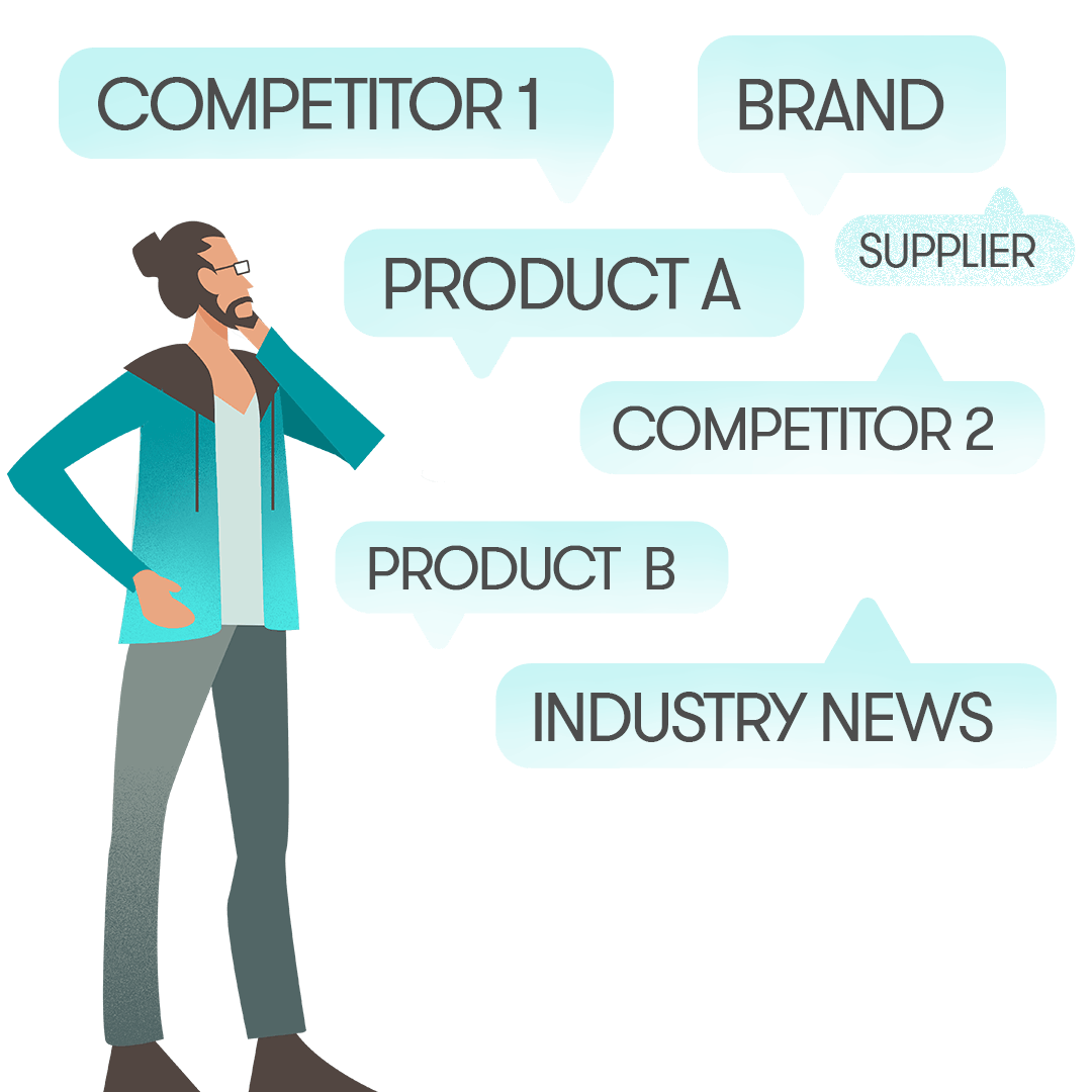 Graphic illustration of a man thinking about its brand, competitors and products