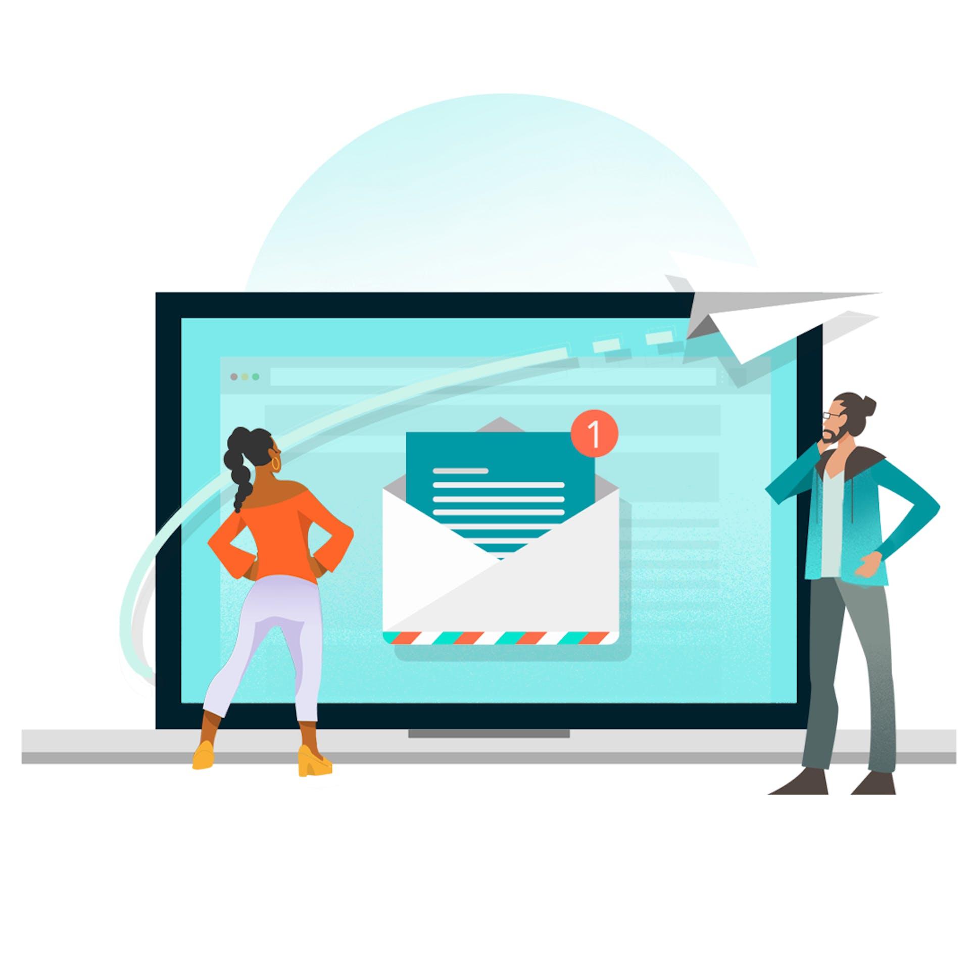 Illustration graphique de personnes devant un ordinateur portable avec une boîte de réception