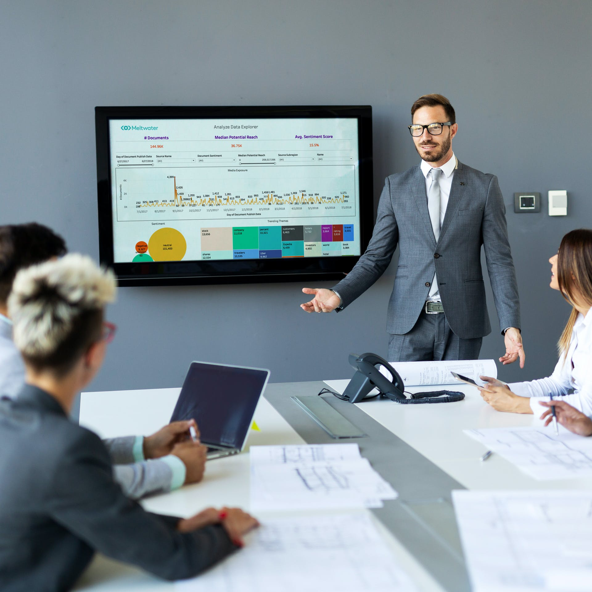 Man presenting in a meeting