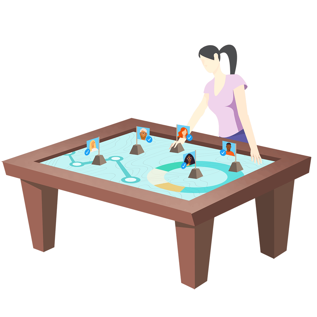 Graphic illustration of woman with strategy board