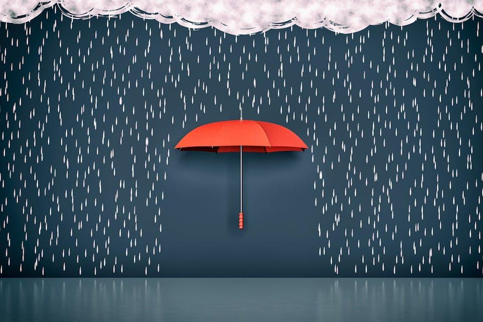 Regenschirm hält Wasser ab