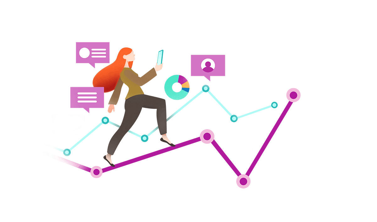 Graphic illustration of woman walking up a spike trend