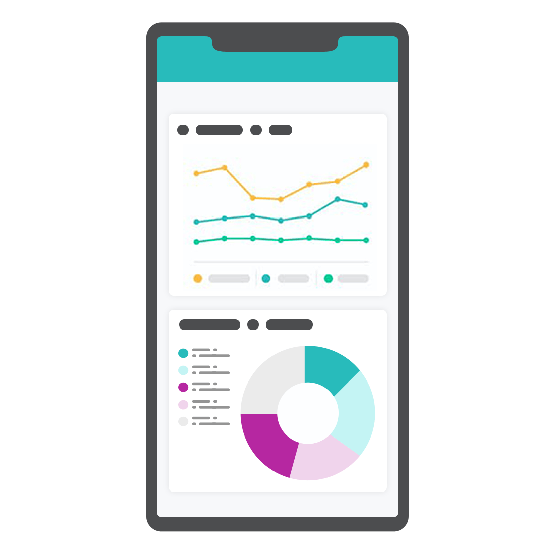 Graphic illustration of mobile app with analytics