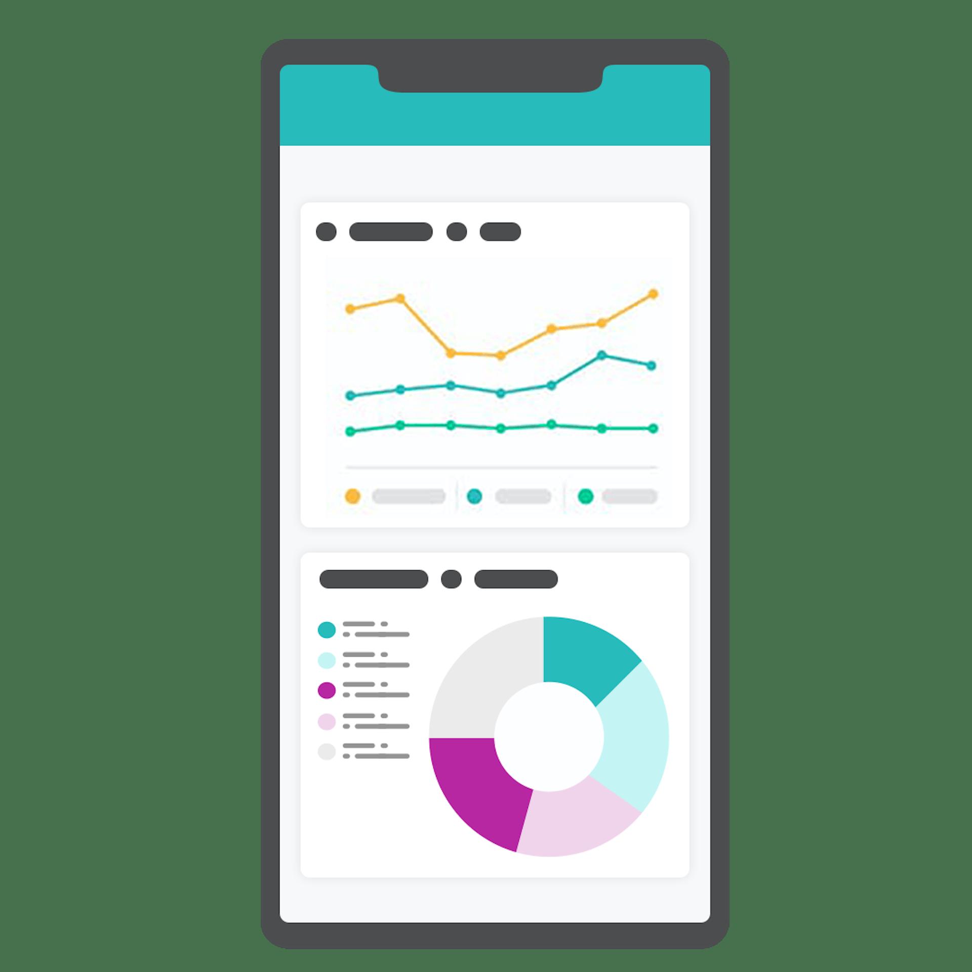 Illustration graphique d'une application mobile avec analyse
