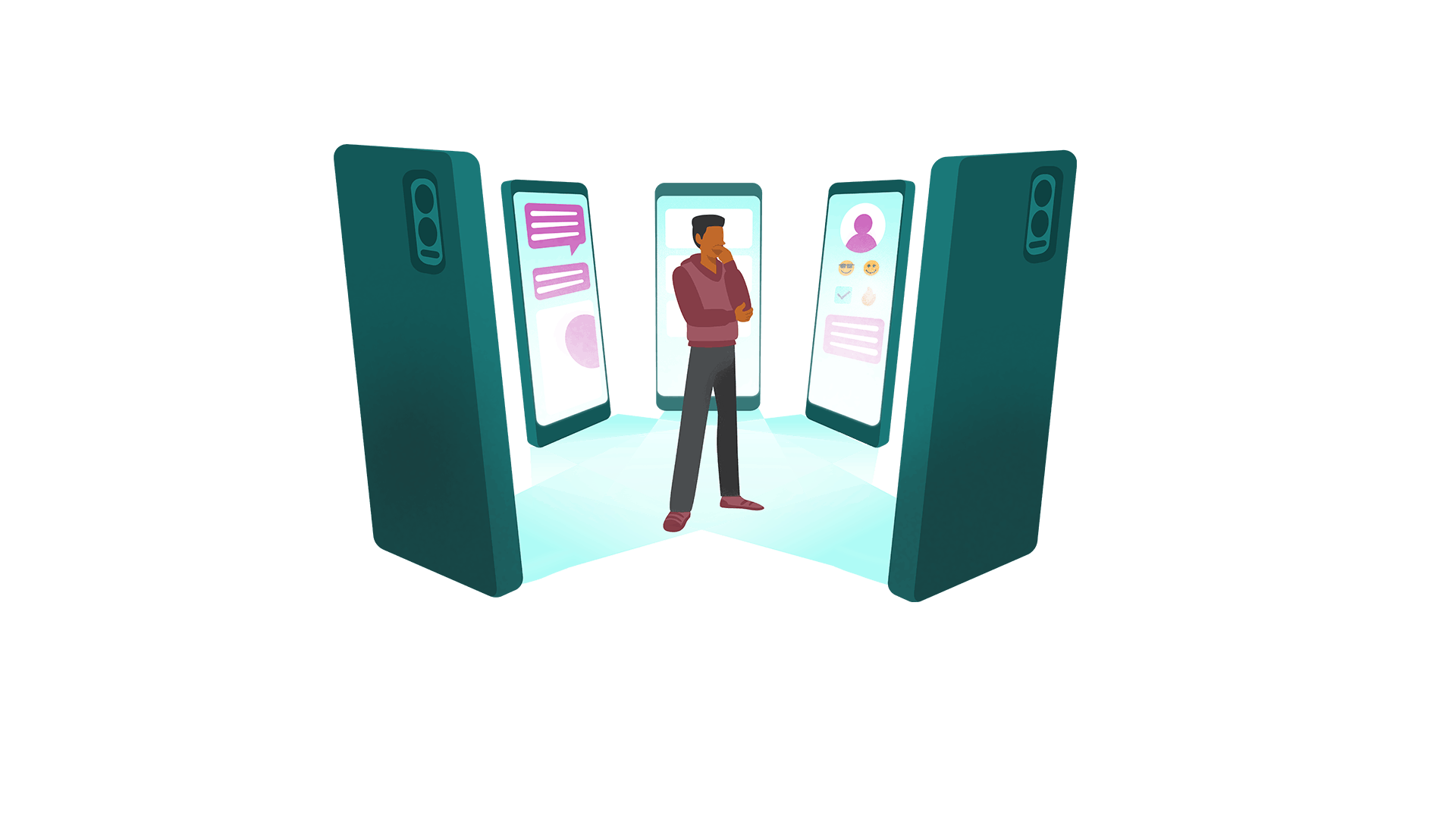 Illustration of man in the middle of multiple applications