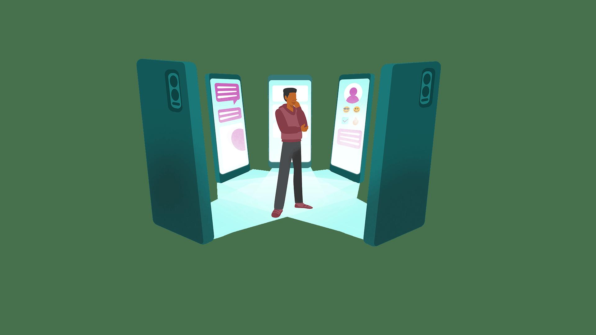 Illustration d'un homme au milieu de plusieurs applications