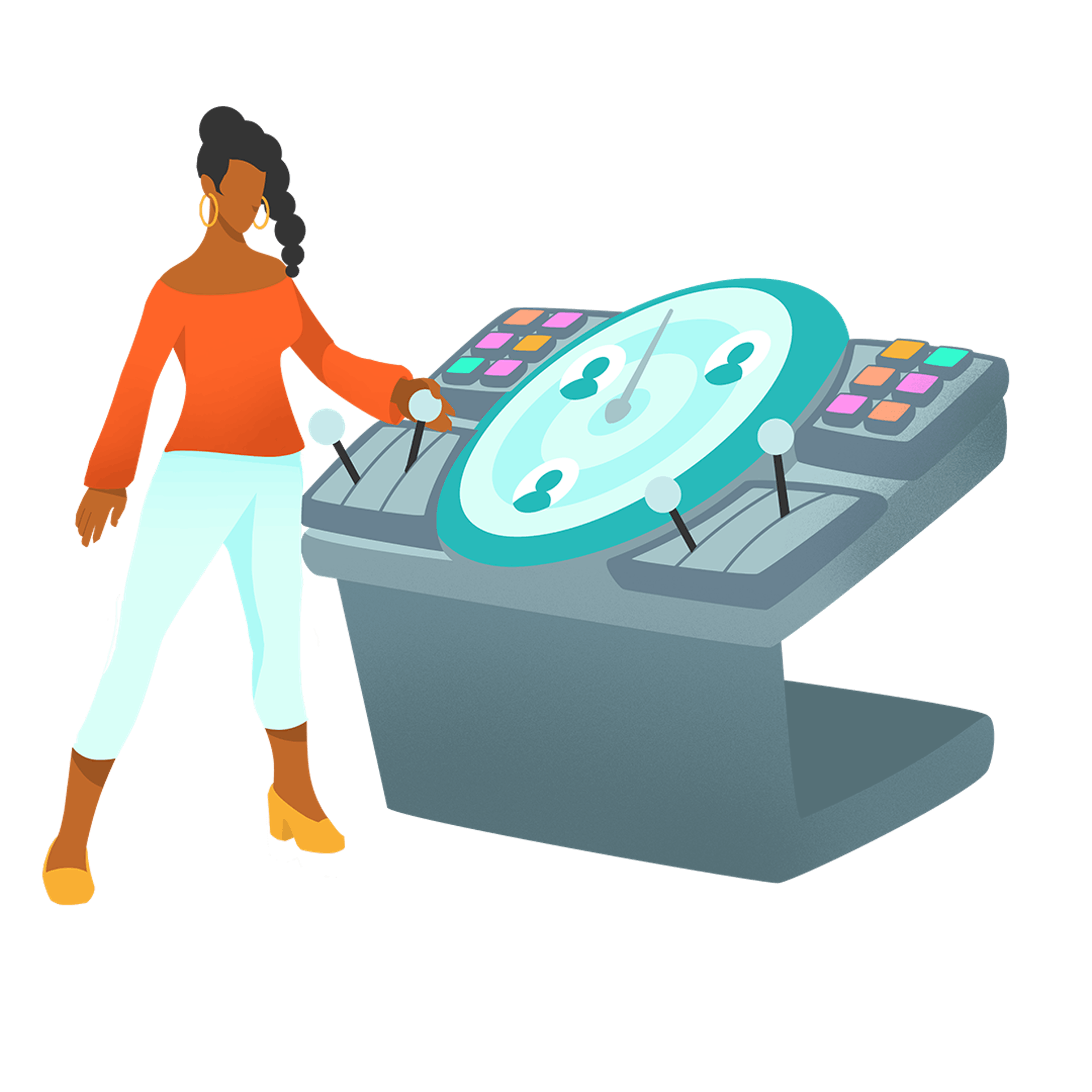 Graphic illustration of woman with a controller