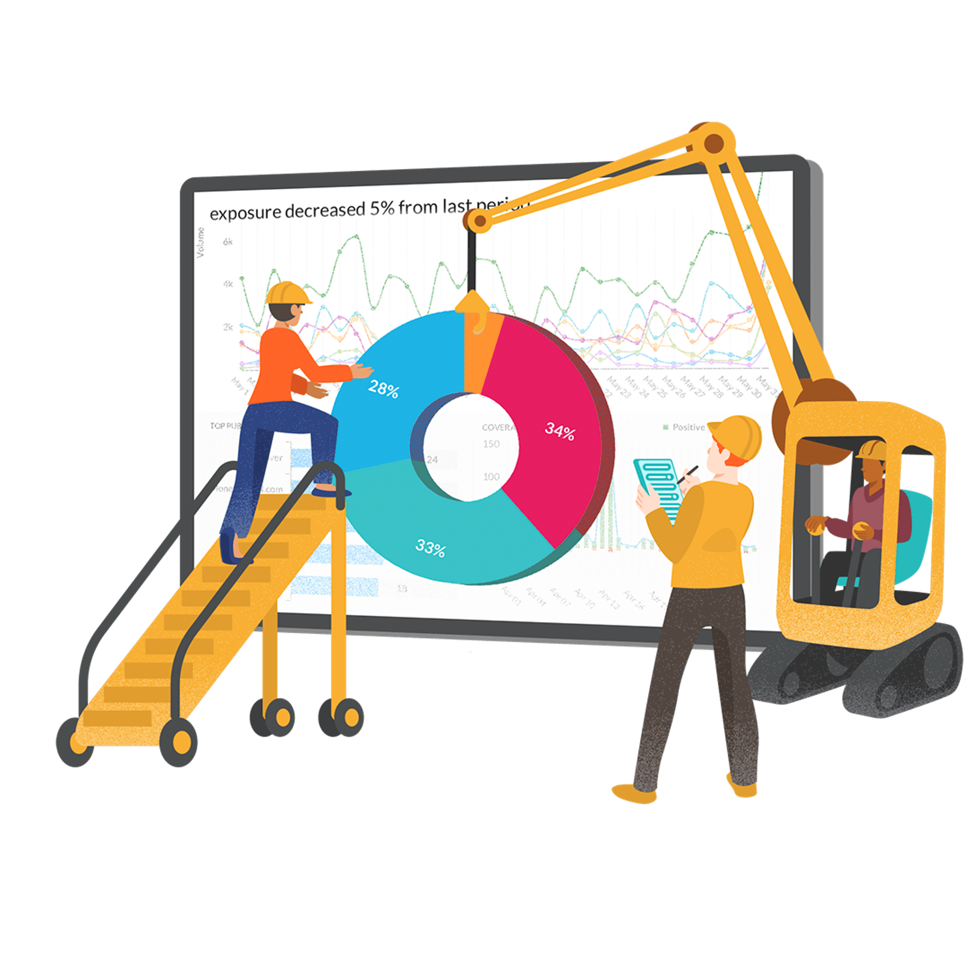 Graphic illustration of a report being created