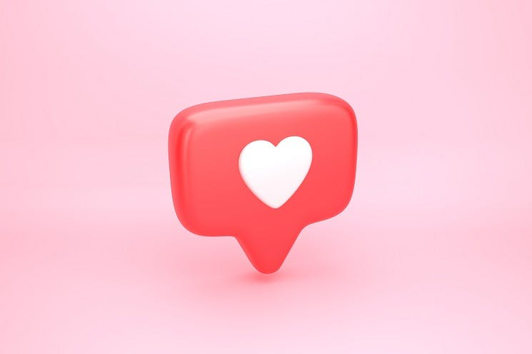 White heart in red WhatsApp logo