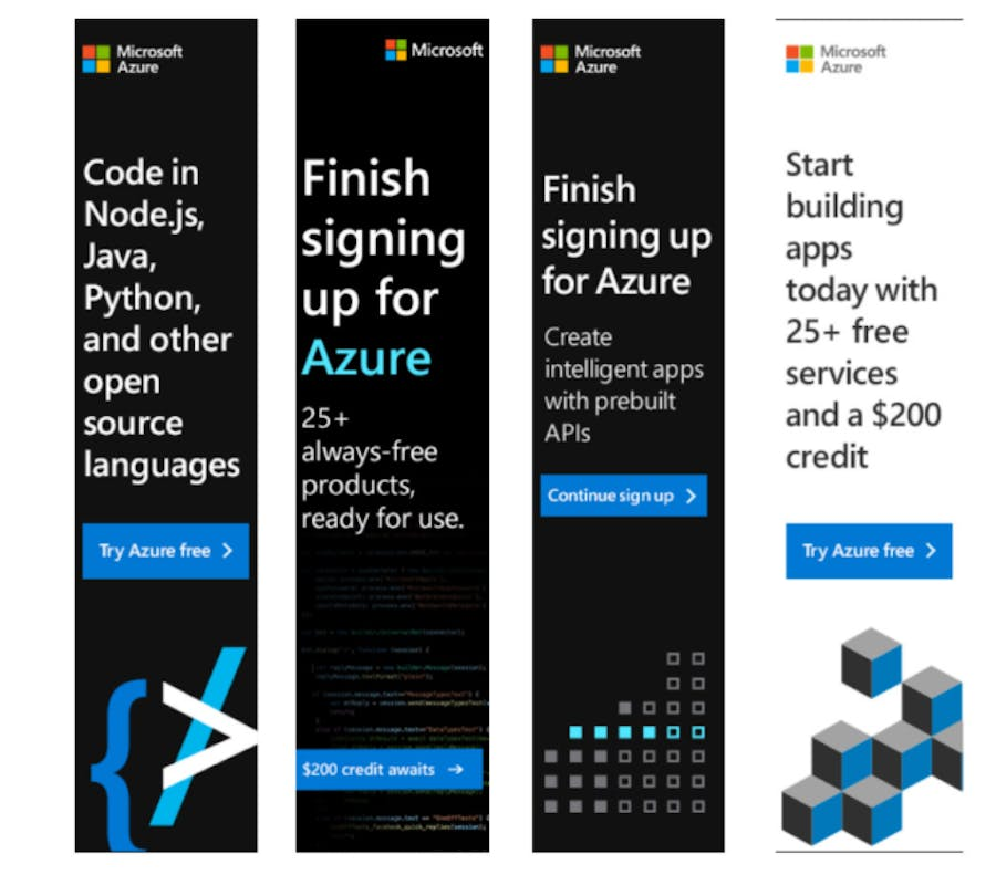 Examples of Microsoft display ads for coders.