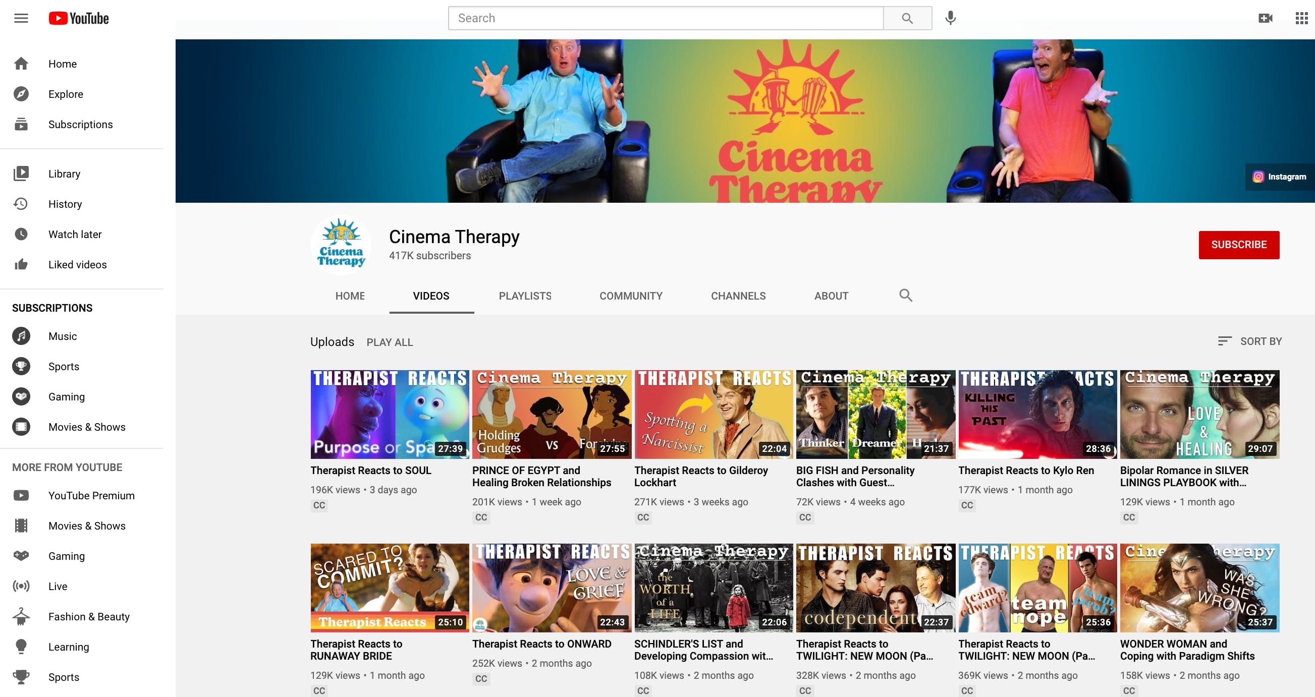 Full list of videos on Cinema Therapy YouTube channel showcasing different styles of thumbnails