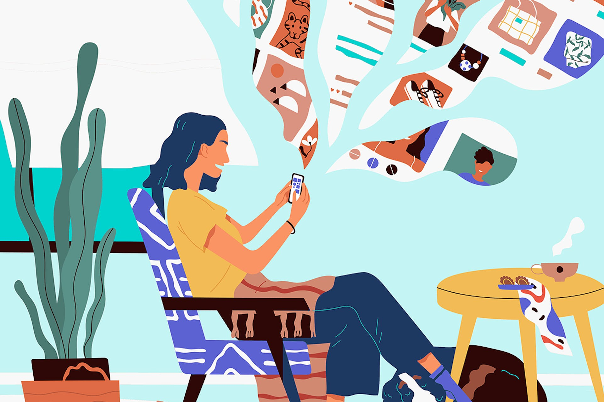Comic image of a person sitting on her chair scrolling through her phone