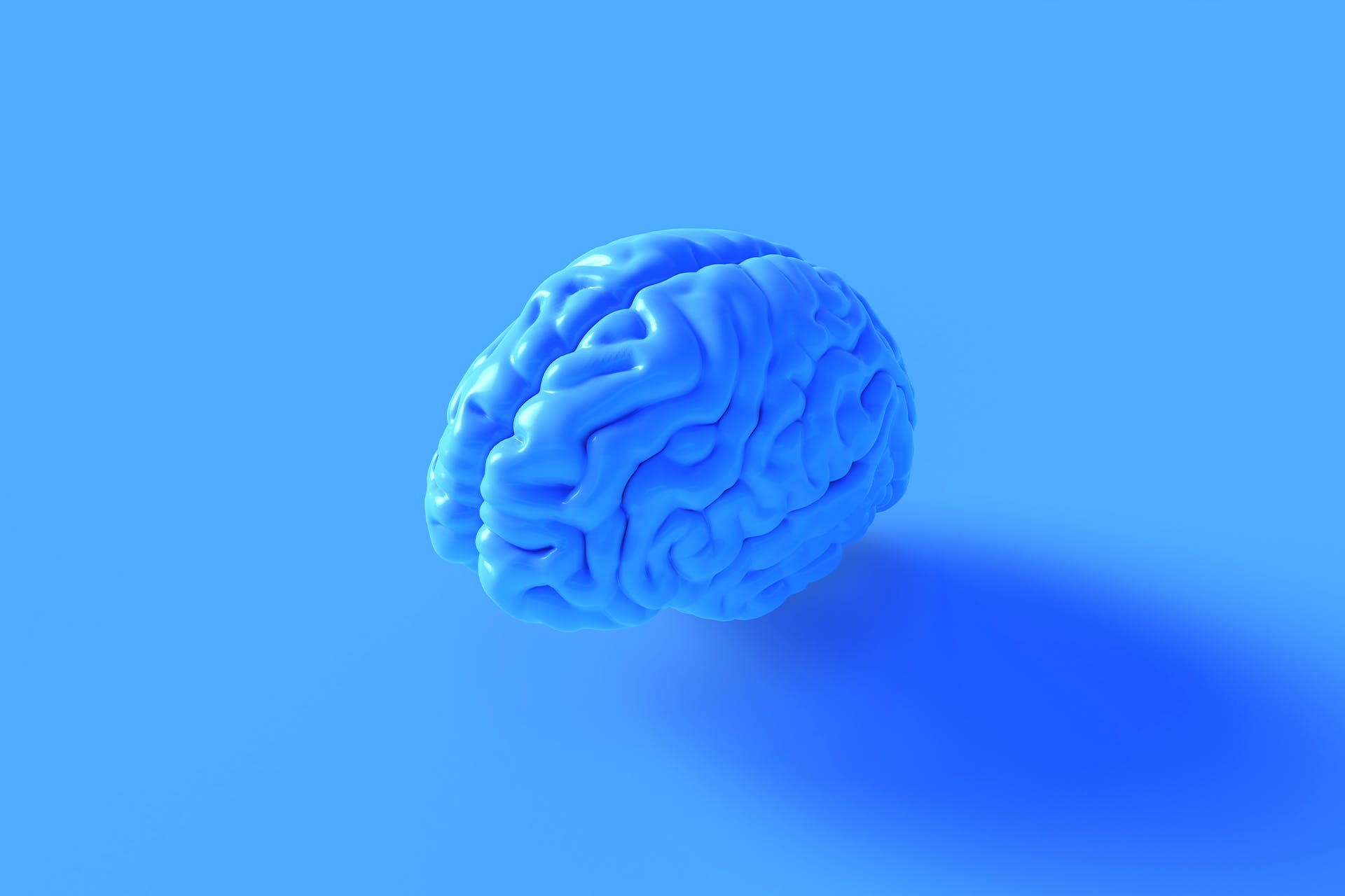 A model of the human brain that is blue set against a blue background. We think (get it) was the perfect choice for our blog on market intelligence.