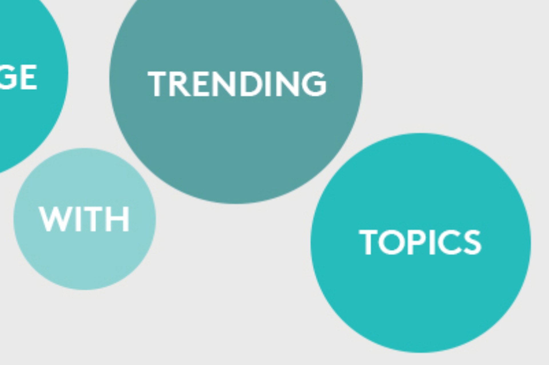 """Three blue circles with one word in each - with, trending and topics""""."""