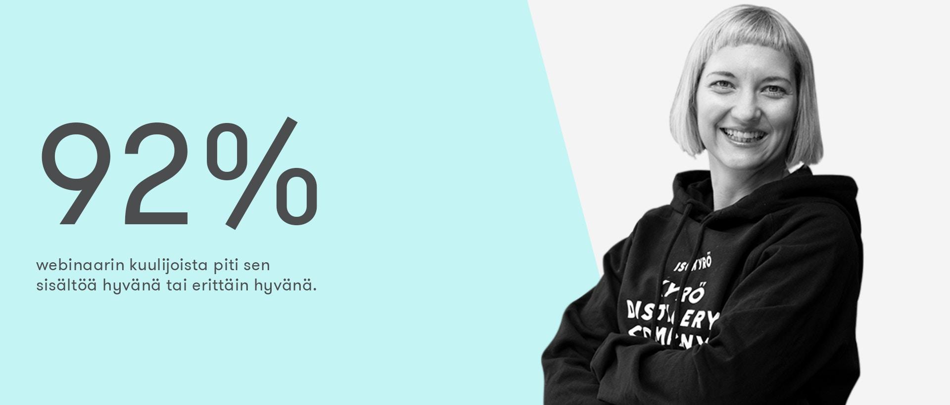 Äänensävyn ja yhteisöjen merkitys markkinoinnissa -webinaarin kuulijoista 92 % piti sen sisältöä hyvänä tai erittäin hyvänä