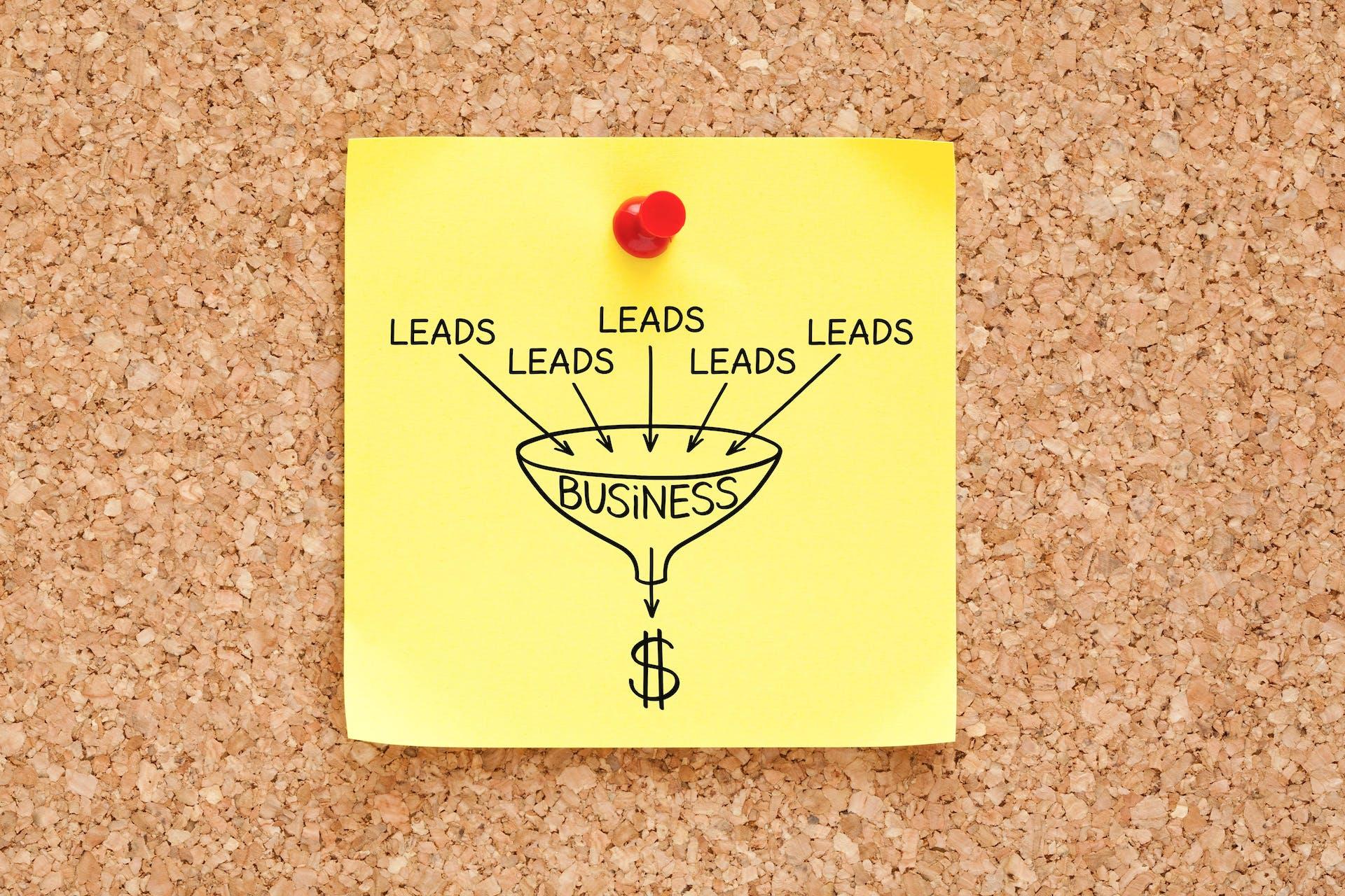 Post-it avec dessin de génération de leads