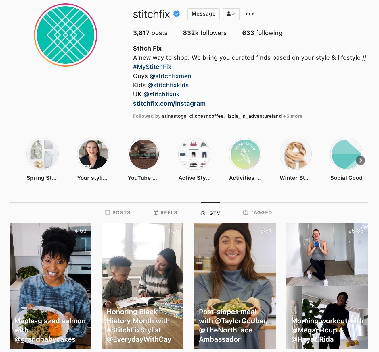 Example of a brand using IGTV as a way to highlight their brand ambassadors