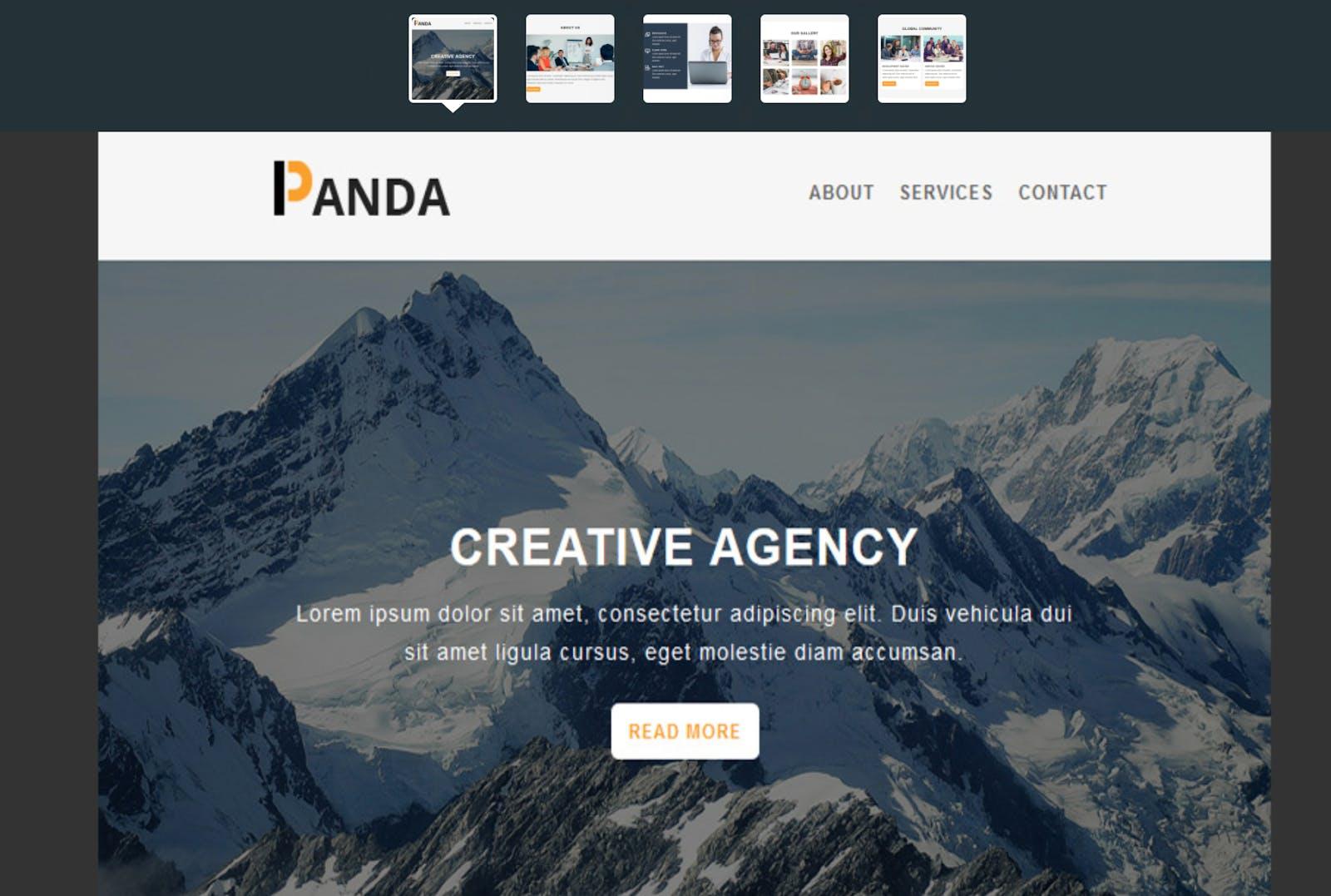 Man sieht ein internes Newsletter Template für Panda-Mitarbeiter, das mit TemplateMonster erstellt wurde.