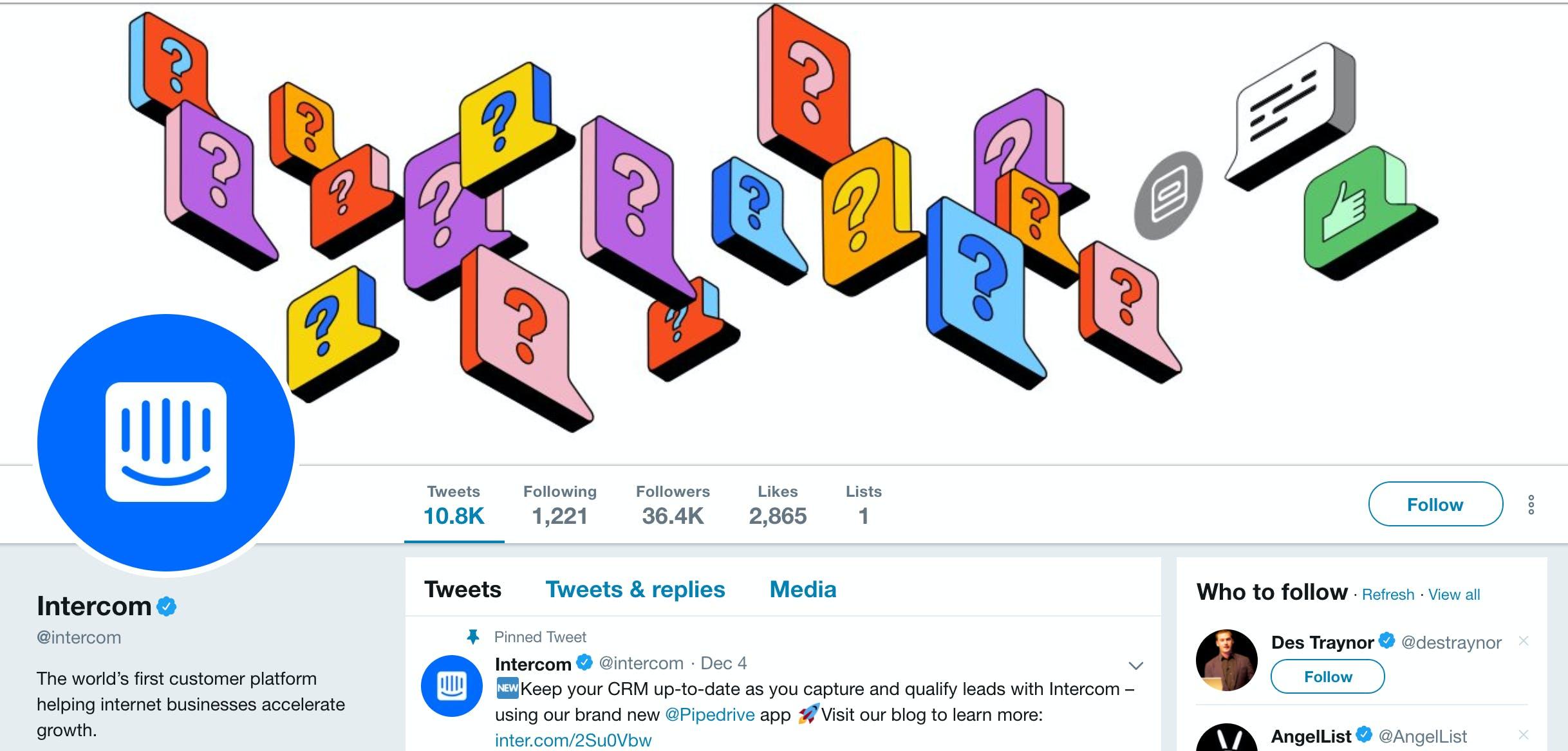 Intercom Twitter feed
