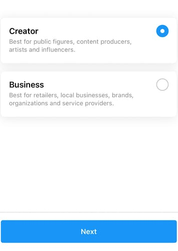 Choosing a category for your Instagram business account