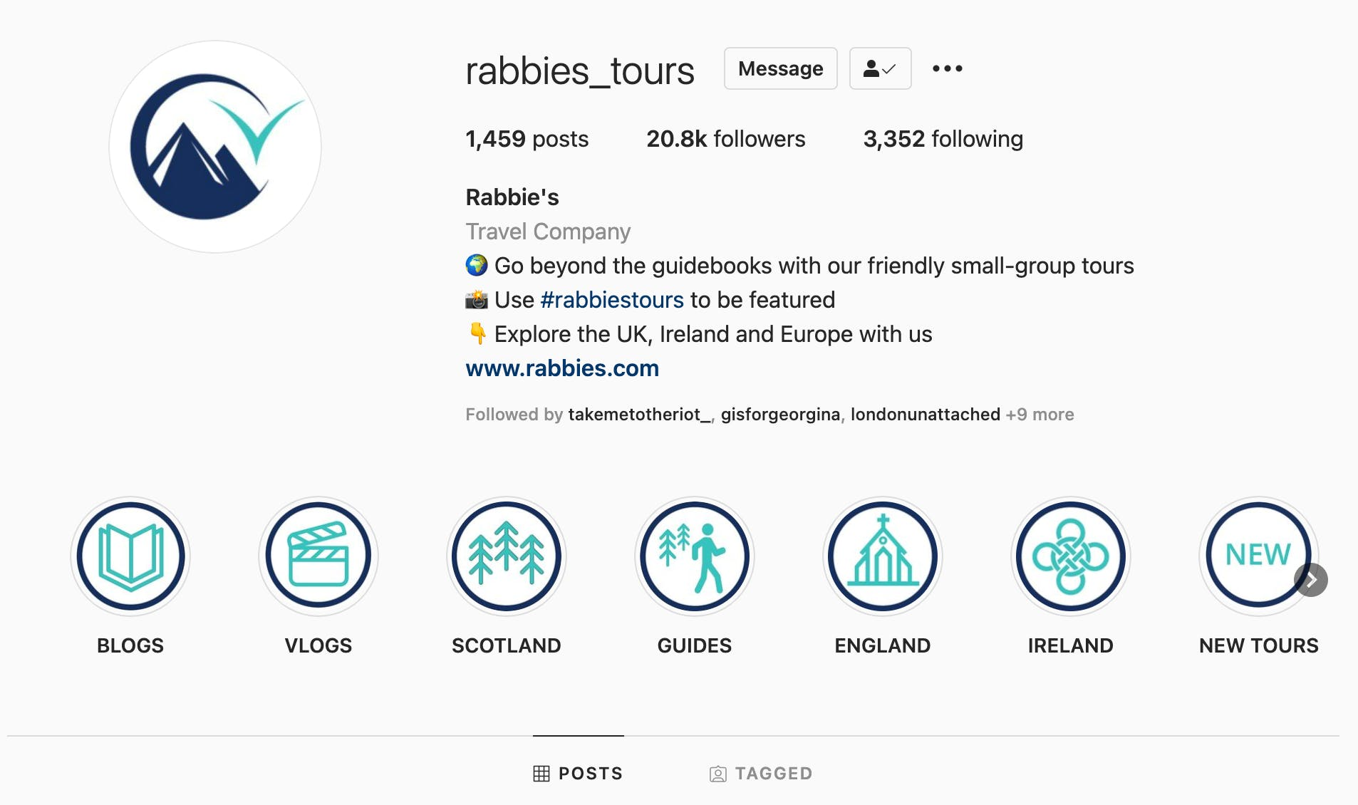 Example of an Instagram profile for a tour company, using consistent icon styling in their Instagram Highlights row