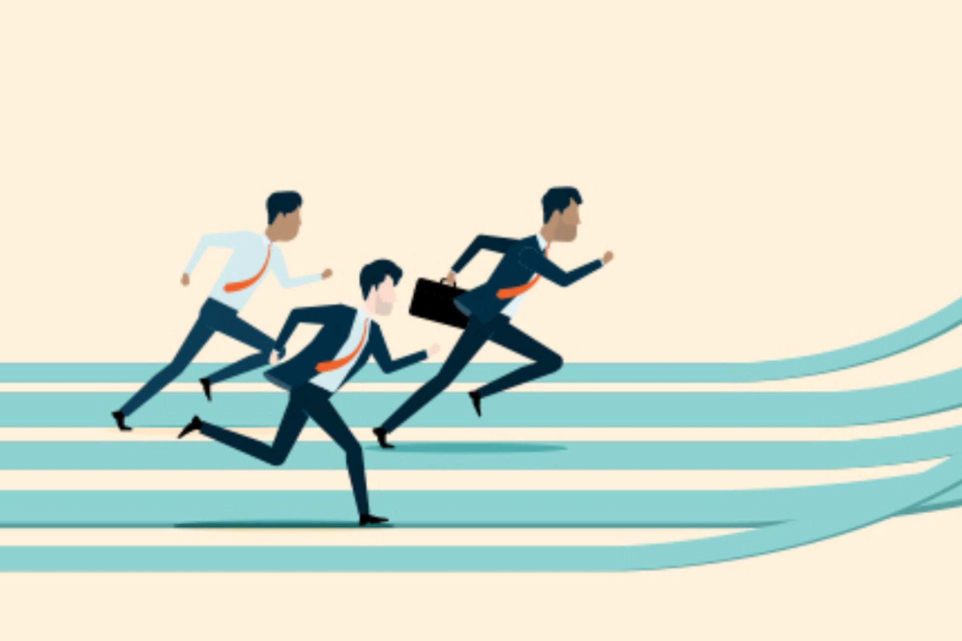 Illustration of three men running on an inclined teal running track