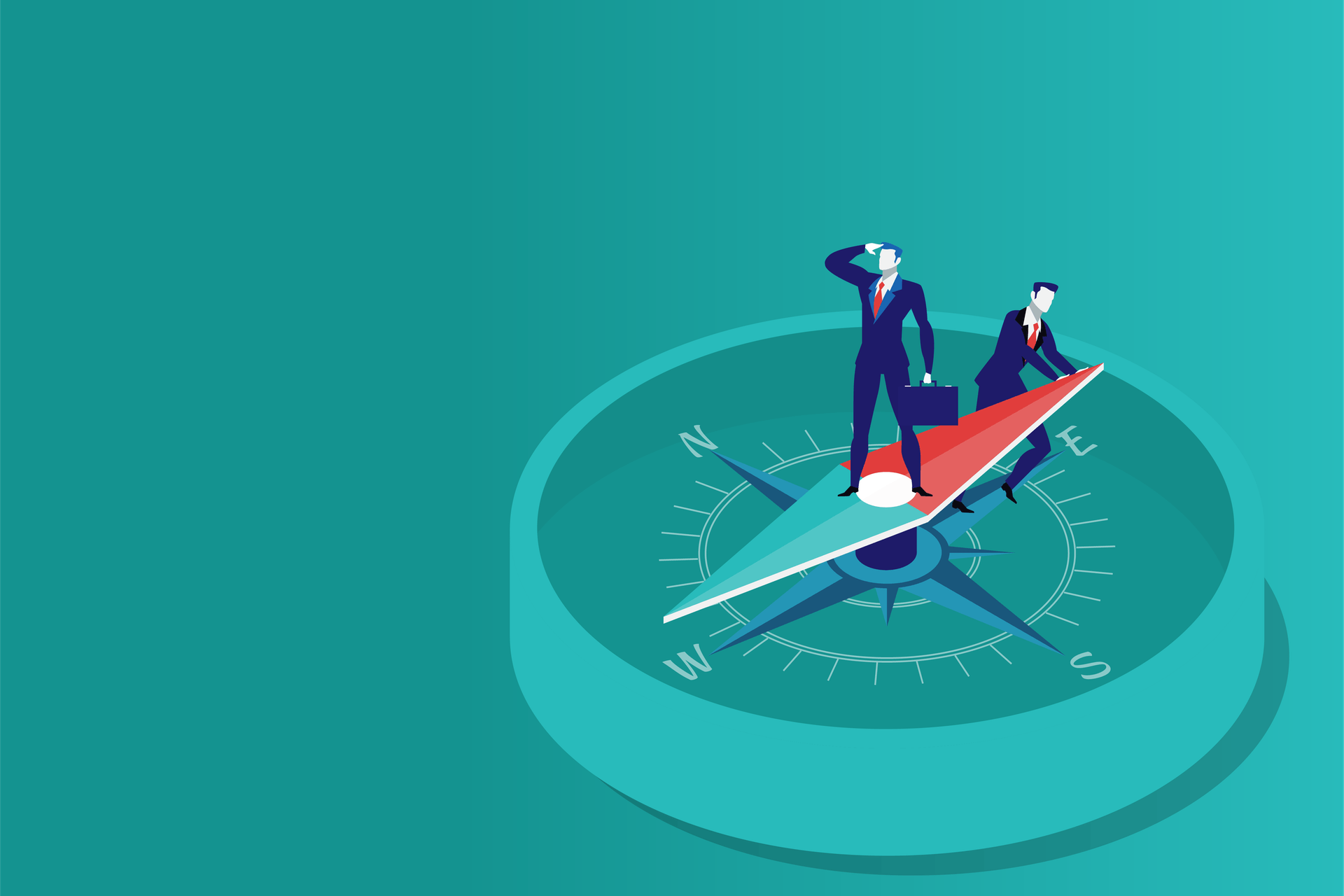 Illustration of two businessmen standing on a compass against a teal background