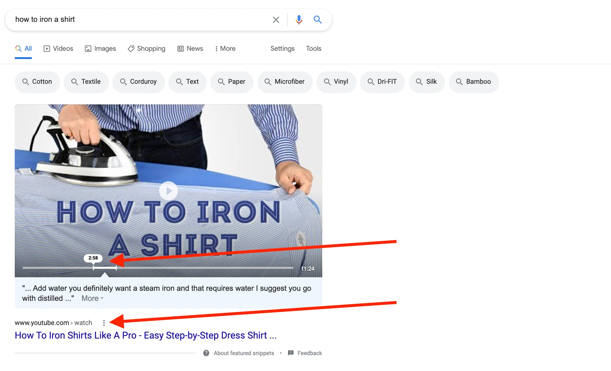 """Google search result for the keyword """"how to iron a shirt"""" showing a suggested timestamp to answer that specific question"""