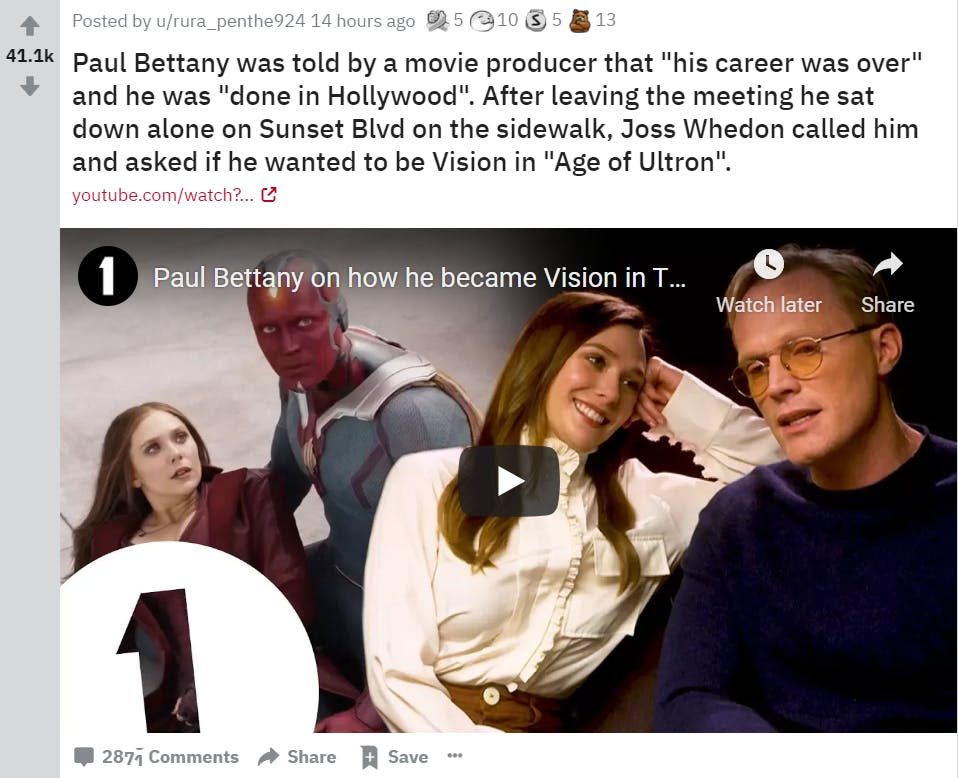 screenshot of reddit marketing and discussion on how paul bettany became vision