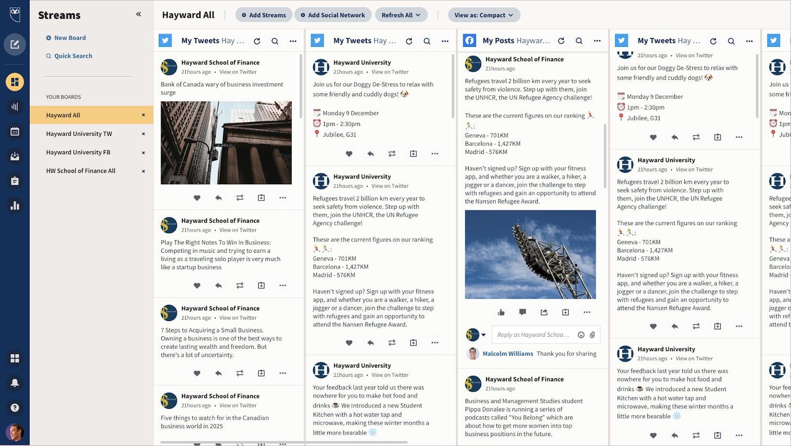 screenshot of hootsuite streams dashboard for social media monitoring tool
