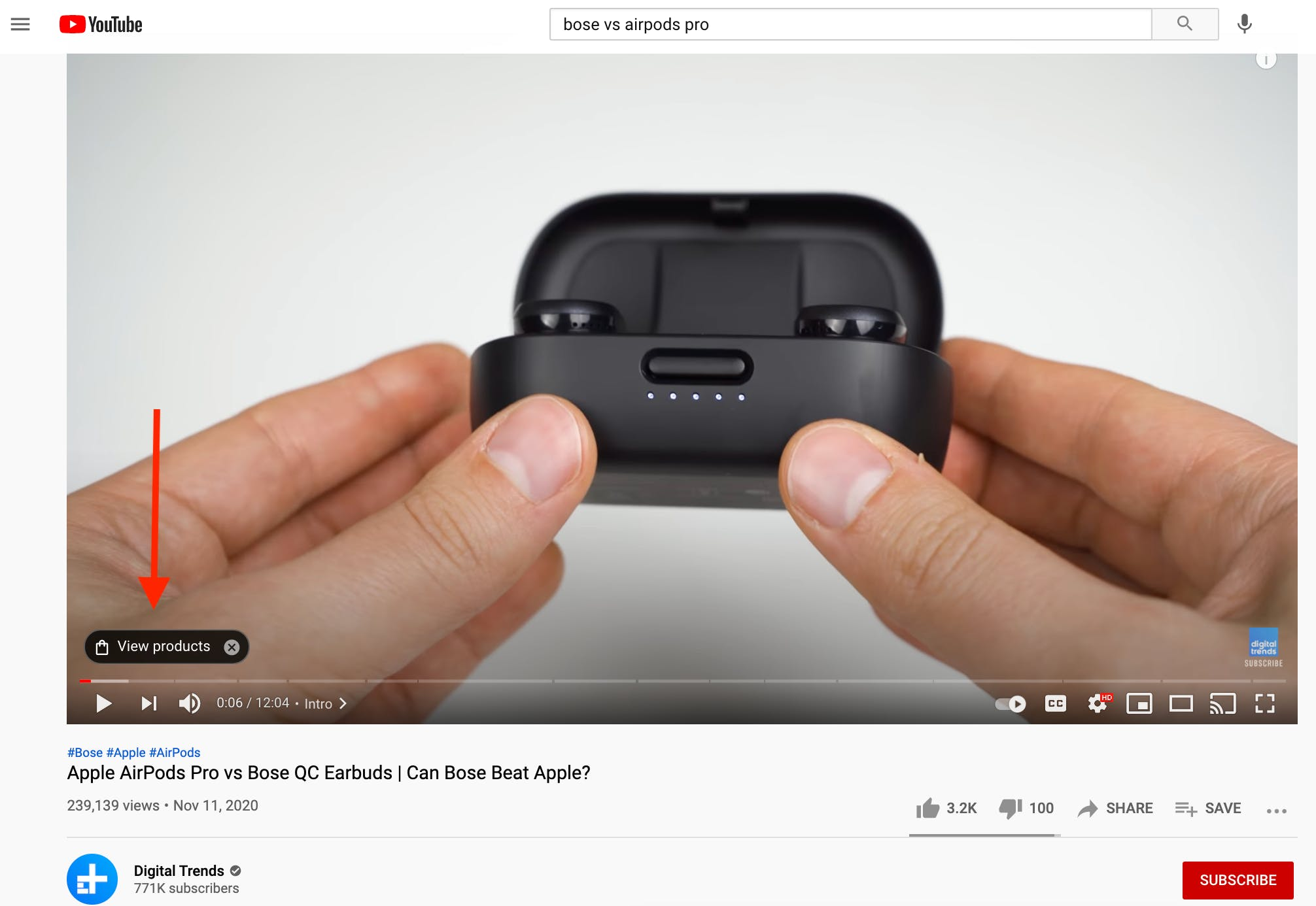 YouTube video comparing headphones showing view products button embedded within video