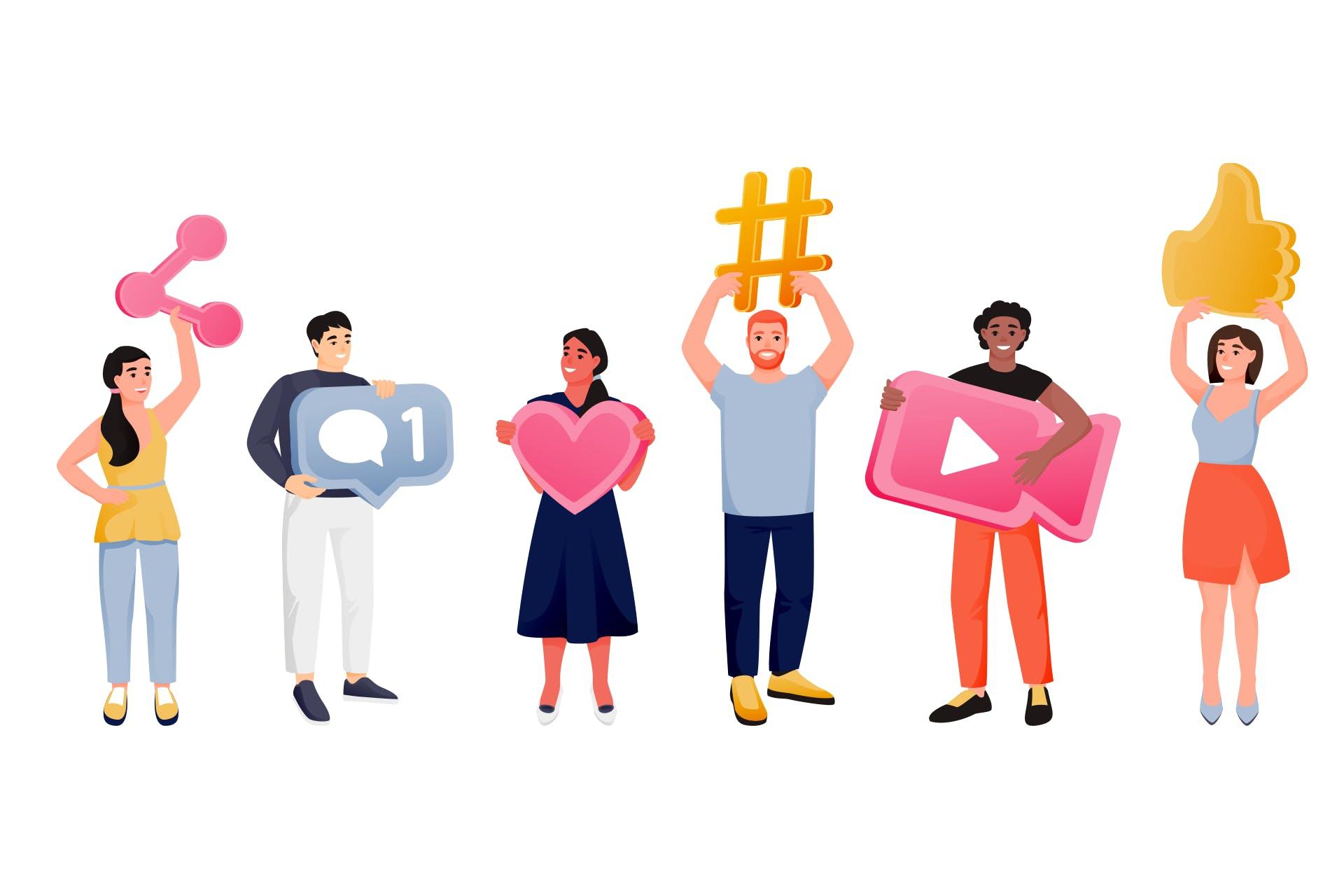 Some-strategia julkishallinnon organisaatiossa -blogin kuvituskuva. Piirretyt ihmiset pitelemässä some-elementtejä käsissään.