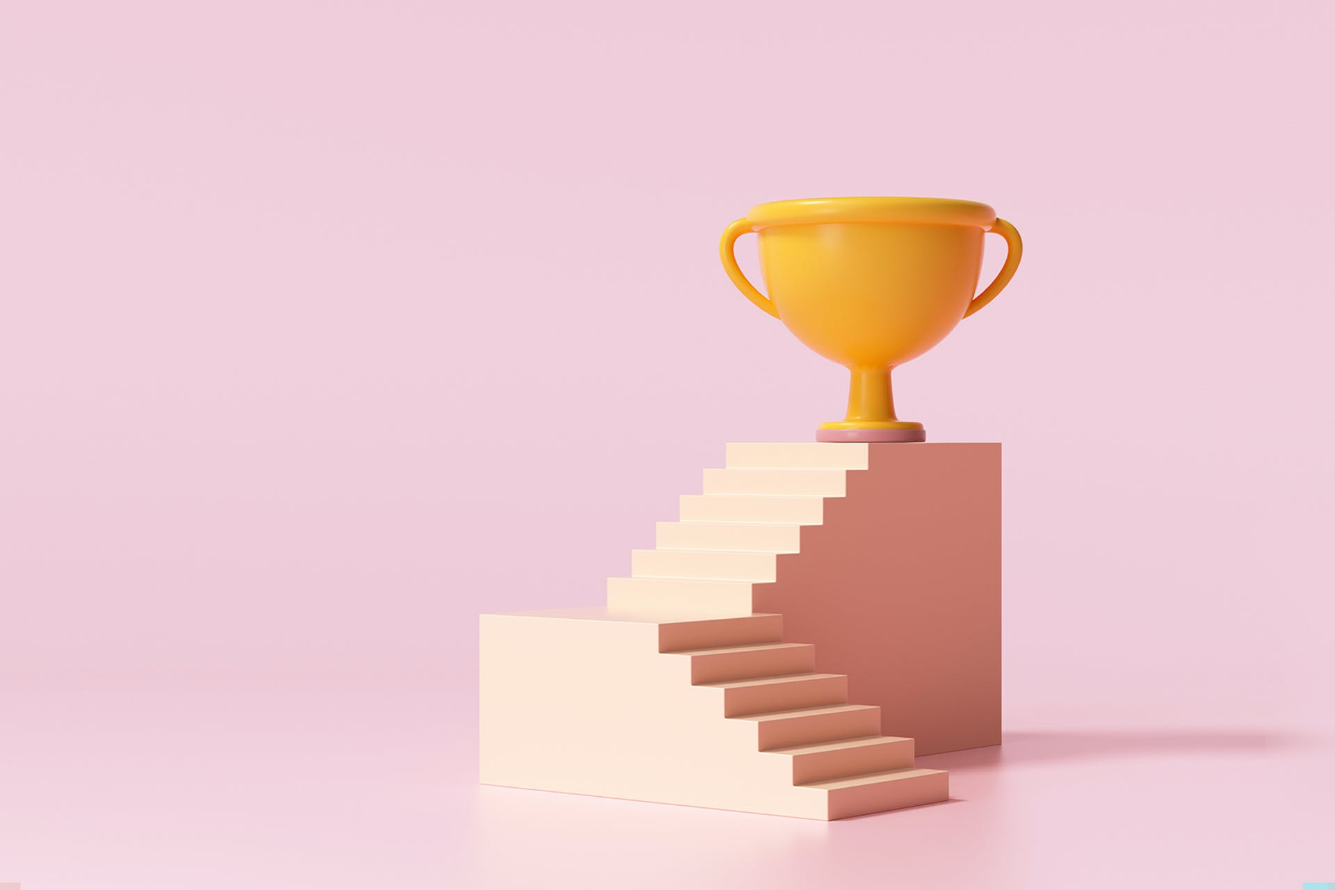 The path to social media management success involves several steps. In this blog post, we outline that process. This image depicts a series of steps with a gold trophy at the top.