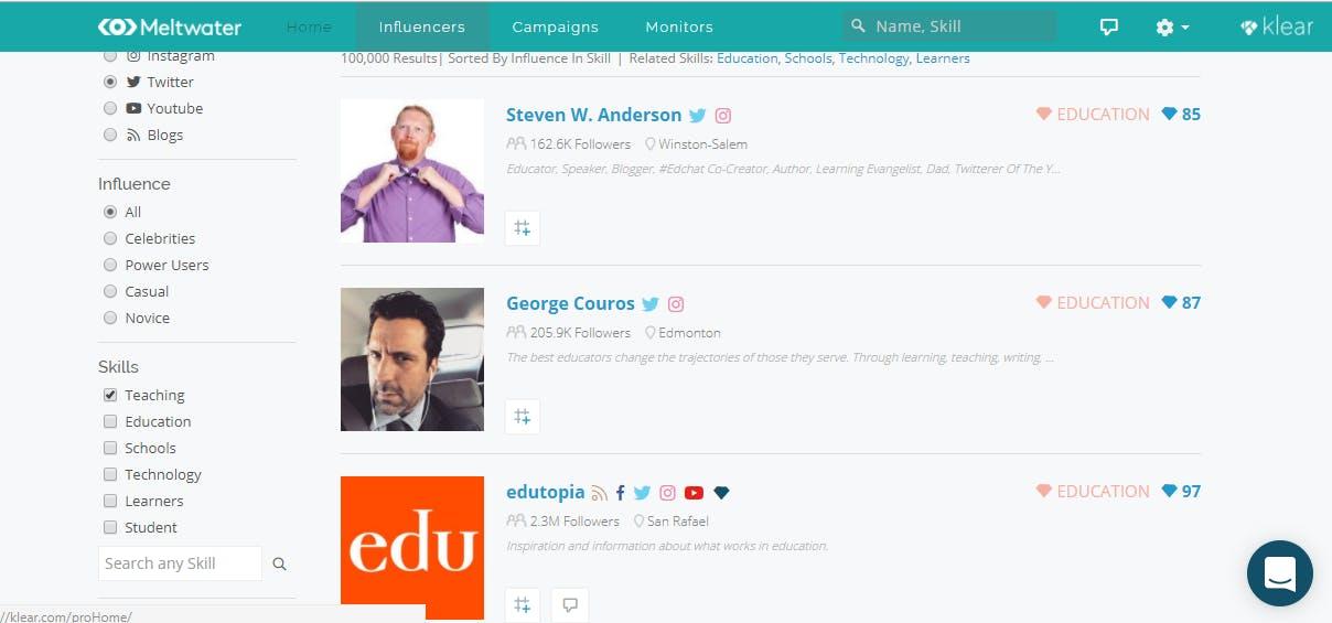 influencer tool dashboard