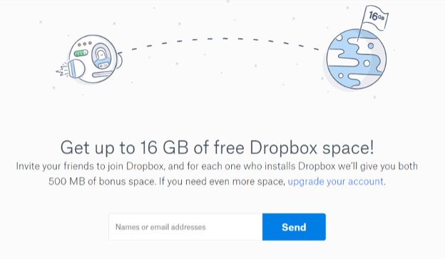 Dropbox reward program.