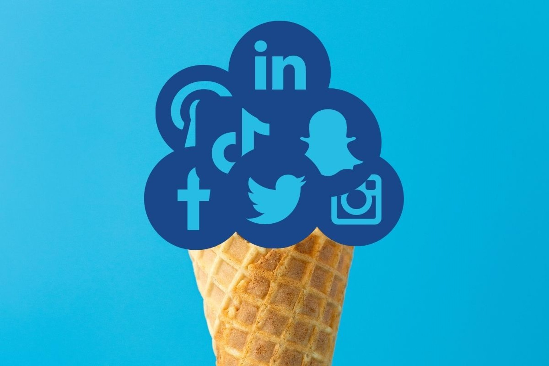 Ice cream cone with social media icons
