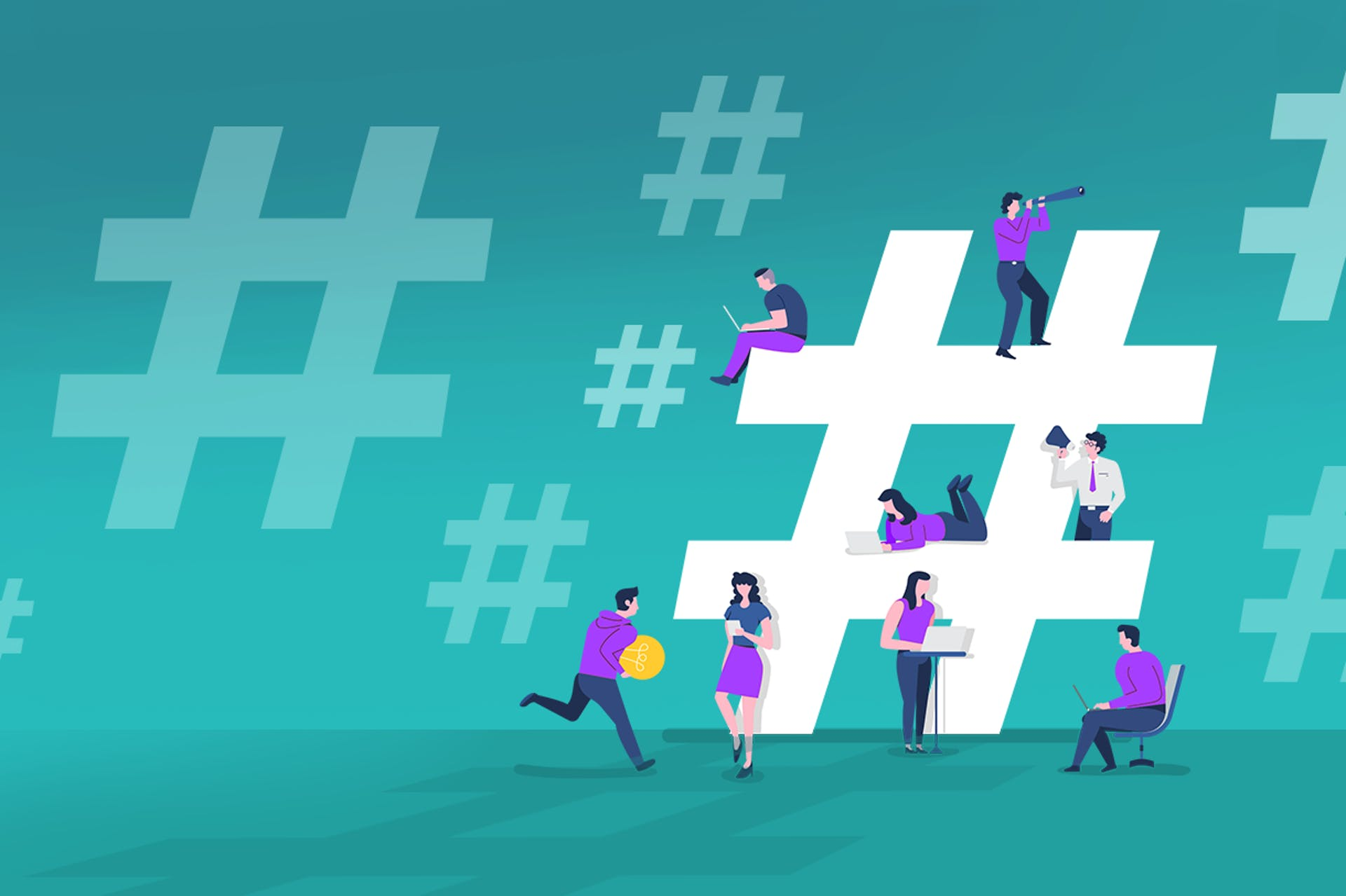 Illustration of floating hashtag icons with people sitting on one large hashtag using various electronic devices